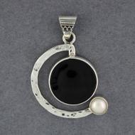 Semi Circle Obsidian & Pearl Pendant