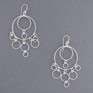 Sterling Silver Circle Chandelier Earrings
