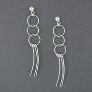 Sterling Silver Circle and Strand Earrings
