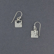 Sterling Silver Small Hammered Square Earrings