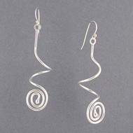 Sterling Silver Curly Swirly Dangle Earrings