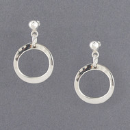 Sterling Silver Open Hammered Circle Earrings