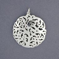Sterling Silver Art Deco Swirl Pendant