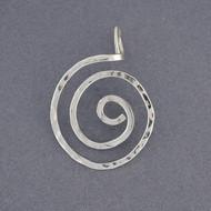 Sterling Silver Hammered Spiral Pendant