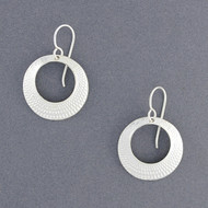 Sterling Silver Crosshatch Circle Earrings