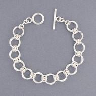 Sterling Silver Flat Circle Link Bracelet
