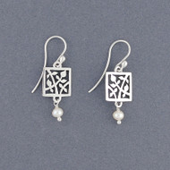 Pearl Cutout Vine Earrings