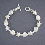 Sterling Silver Shell and Starfish Bracelet