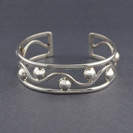 Sterling Silver Wave and Dots Cuff