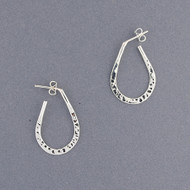 Sterling Silver Teardrop Oval Hoop
