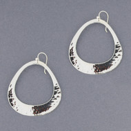 Sterling Silver Hammered Rounded Triangle Earrings