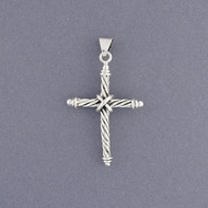 Sterling Silver Rope Cross Pendant