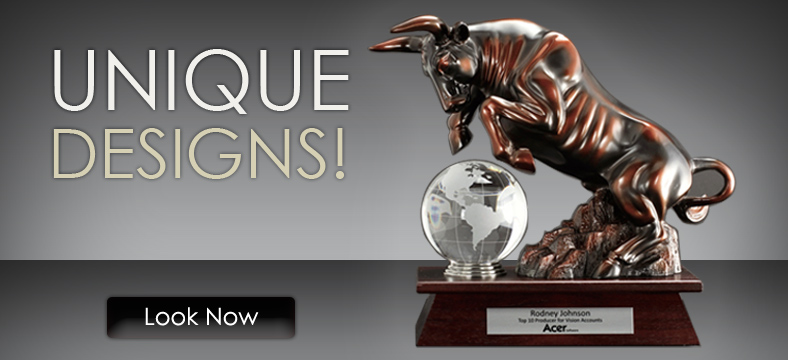 Bronze Charging Bull and Bear Trophy Awards