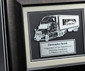close up view of the 3d truck plaque in wood finish frame