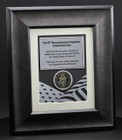 US Military Framed Plaque with Flag and medal side view 12x14