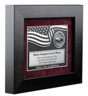 Military Plaque in a Black satin Frame with hands shaking medallion Personalized with your message  12x14