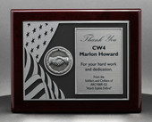 Military Plaques with US Flag and Hand shaking medallion on Rosewood Personalized 8x10