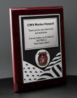 Military Plaque Award with US Flag design on Rosewood Engraved with your message