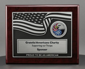 Piano Wood Plaque with 3D USA Flag design and custom imprint on 8x10 Rosewood
