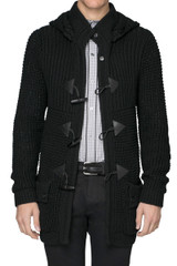 Chess Knitted Duffle Coat Black