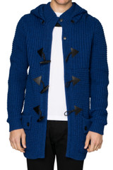 Chess Knitted Duffle Coat Blue