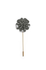 Patent Leather Flower Pin Pewter