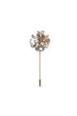 Patent Leather Flower Pin Silver
