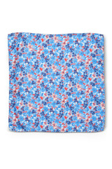 Floral Pocket Square Blue Red