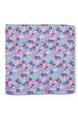 Floral Pocket Square Pink Blue