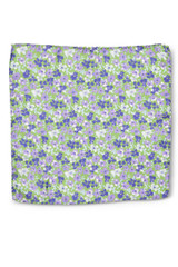 Floral Pocket Square Purple Blue