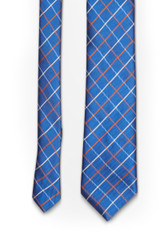 Window Check Tie Navy Orange