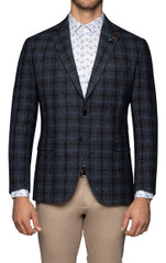 Jezz Textured Check Blazer Navy