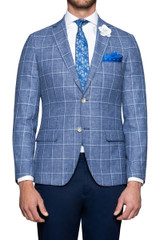 Perry Check Blazer Sky