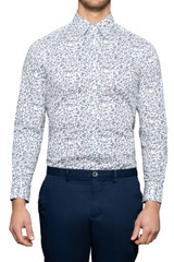 Merlin Leaf Stretch Shirt Navy