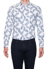 Ned Leaf Print Shirt White/Blue
