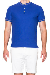 Jacob Stand Collar Polo Blue