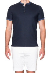 Jacob Stand Collar Polo Navy