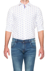 Dustin Print Shirt Blue/White