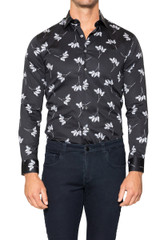 Leon Brush Leaf Print Shirt BLACK/WTE