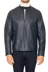 Royce Leather Biker Jacket NAVY