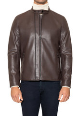 Royce Double Zip Leather Jacket CHOCOLATE