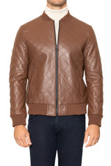 Royce Quilted Leather Jacket TAN