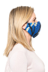 Maddy Beaded Mask COBALT/BLACK