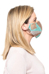 Natalie Beaded Mask MINT/COFFEE