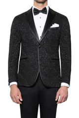 Adam Lace Brocade Tuxedo Jacket BLACK