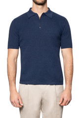 Zeb Knitted Zip Polo INDIGO