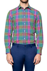 Ned Bright Check Shirt PINK/GREEN