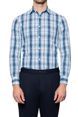 Sal Pastel Check Shirt TEAL/NAVY