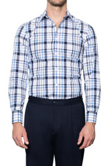 Otto Irregular Check Shirt NAVY/BLUE