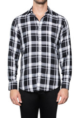 Jack Viscose Check Shirt BLACK/WHITE